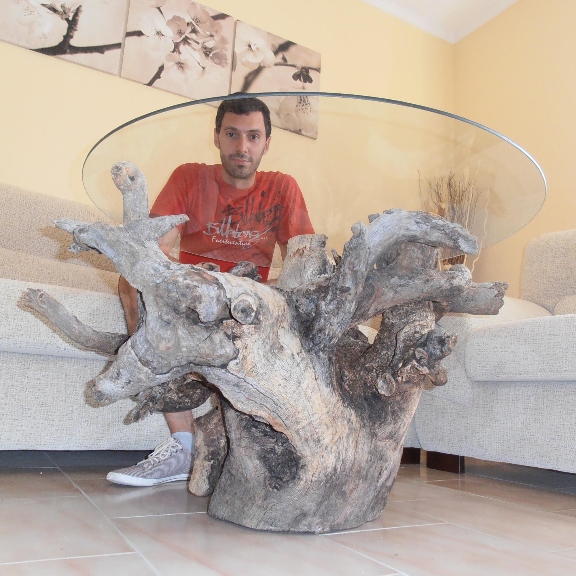 Mesa elaborada con raíces de tronco de encina